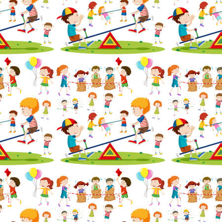 Seamless background with children playing illustration Illustration