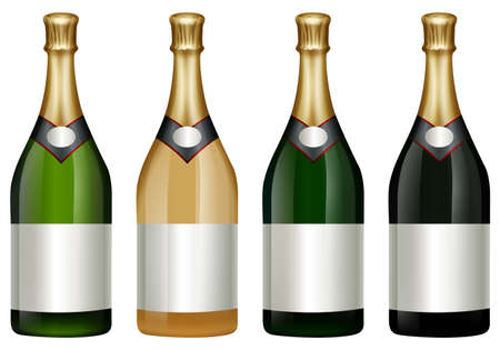alcohol series: Four champagne bottles with golden lid illustration