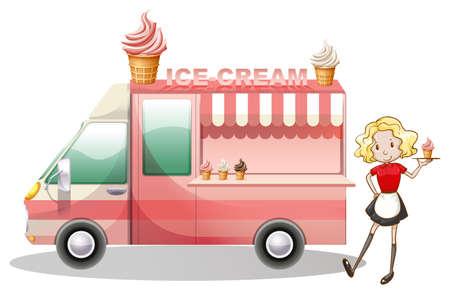 softcream: Ice cream truck and waitress illustration Illustration