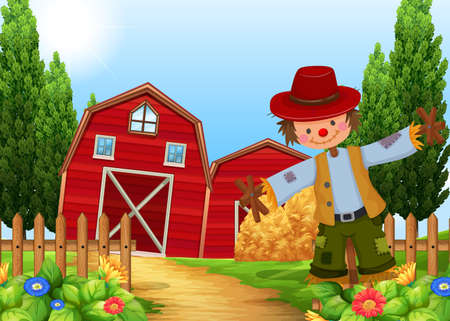 Scene with scarecrow and barns illustration Illustration