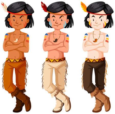 indian boys: Three native american indian boys illustration