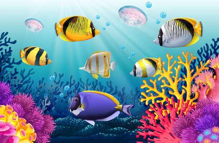 Fish swimming under the sea illustration