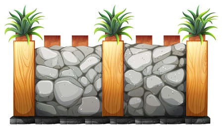 fences: Fence made from stones and wood illustration