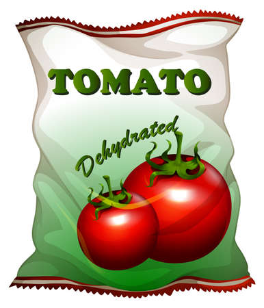 dehydrated: Bag of dehydrated tomatoes illustration Illustration