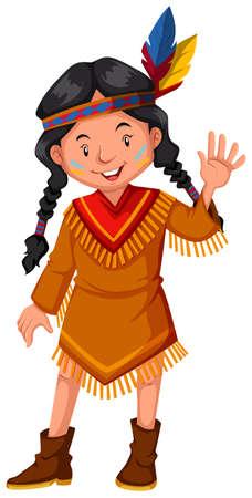 Native american indian girl waving hello illustration
