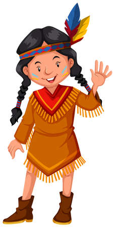 indian student: Native american indian girl waving hello illustration