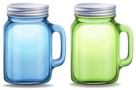 multiple image: Blue and green jars with aluminum lids illustration Illustration