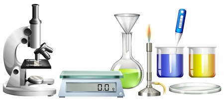 beakers: Science beakers and other equipment illustration