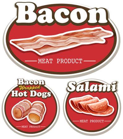 fiambres: producto de carne con tocino y salami ilustración