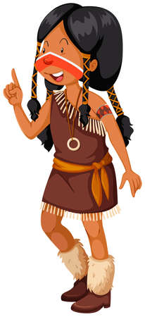 indian student: Native American Indian girl in brown costume illustration
