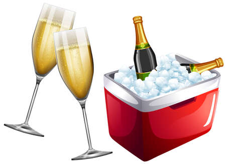 freshment: Champagne glasses and icebox illustration