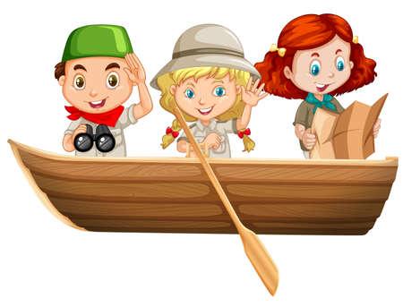 girl illustration: Three kids riding on rowboat illustration