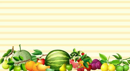 Paper design with fresh fruits illustration Illustration