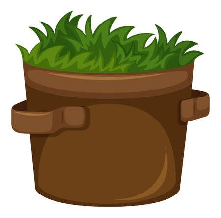 pot leaf: Grass growing in the pot illustration