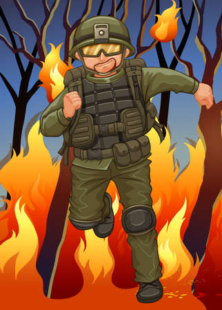 wildfire: Soldier running away from wildfire illustration