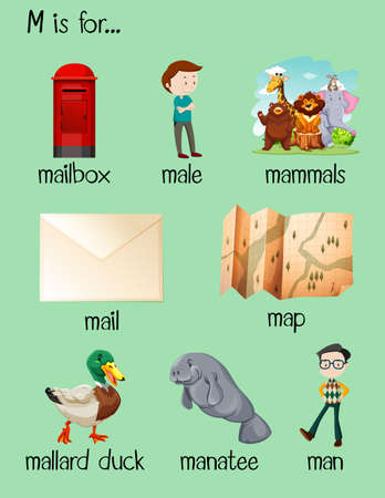 reads: Many words begin with letter M illustration Illustration
