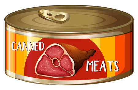 meats: One canned meats with label illustration