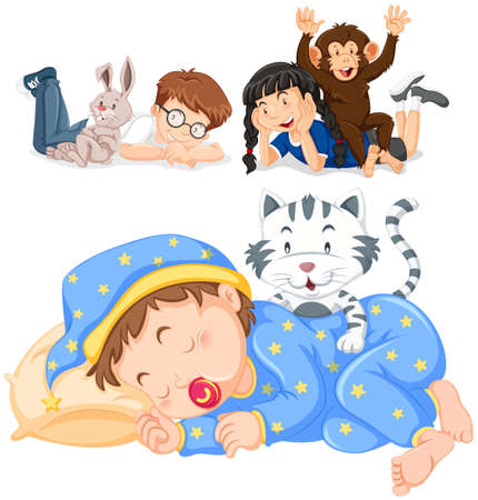 cheeky: Children and their pets illustration