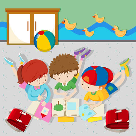 Children reading books in the classroom illustration