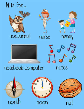 Many words begin with letter N illustration