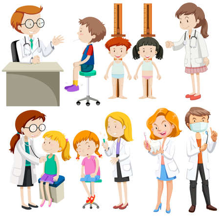 Boys and girls visiting doctors illustration
