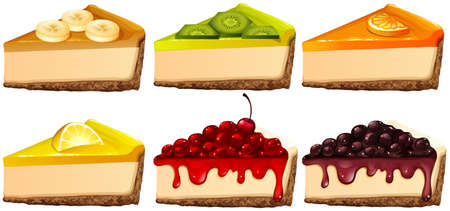 Set of cheesecake with different flavors illustration Illustration