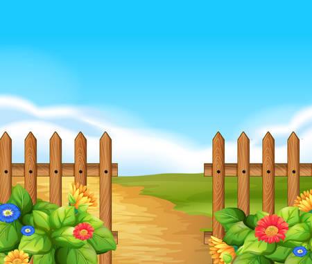 Scène met houten hek en veld illustratie