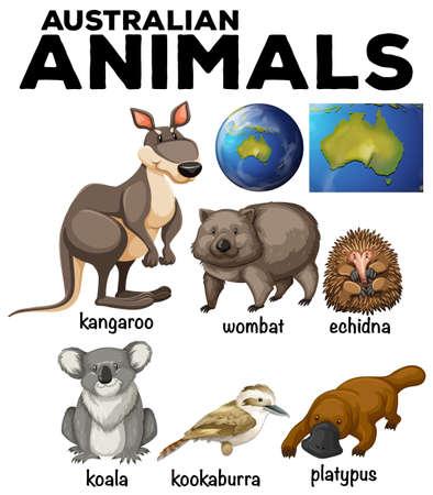 platypus: Australian wild animals and Australia map illustration