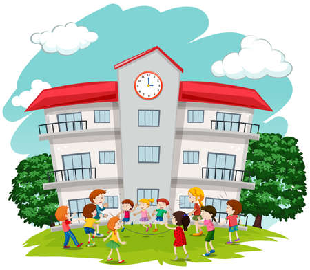 college students campus: Children playing in front of school illustration