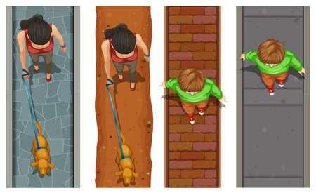 sidewalk: Aerial view of people walking on pavement illustration
