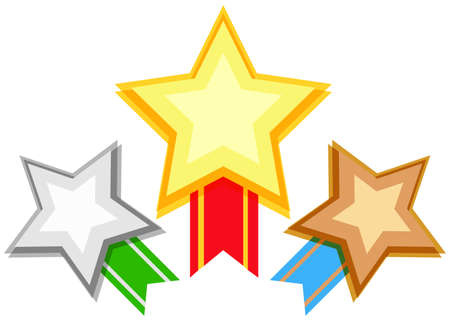 star clipart: Award design with stars and ribbon illustration
