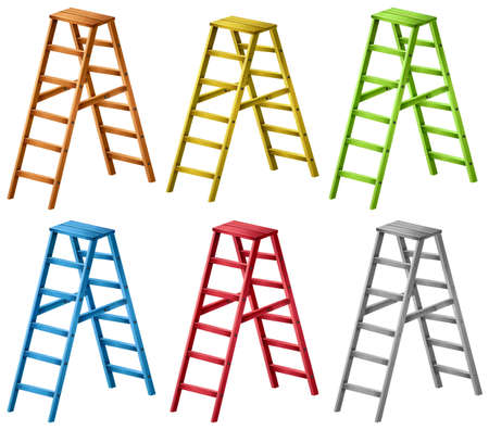 ladders: Ladders in six different colors illustration