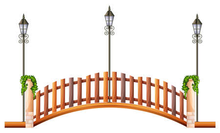 wooden post: Bridge with wooden fence and lamp illustration