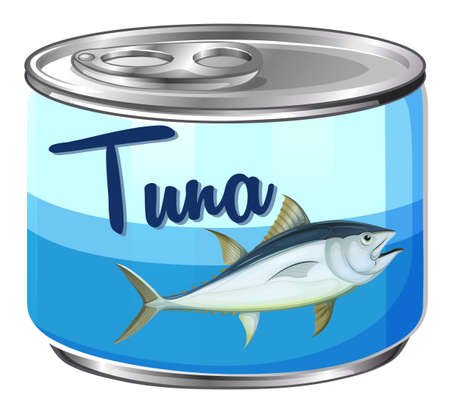 Canned food with tuna inside illustration Иллюстрация