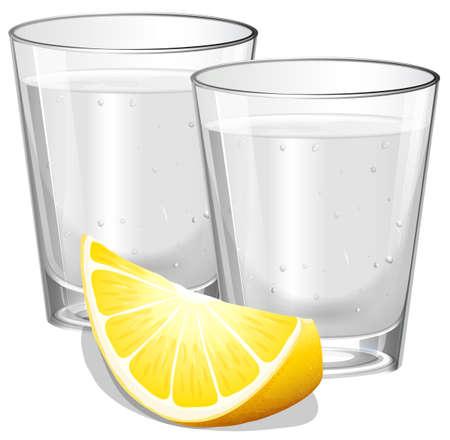 Deux verres de vodka au citron illustration