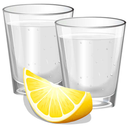 Two glasses of vodka with lemon illustration