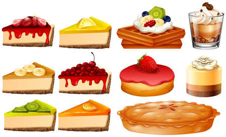 Different types of cakes and pie illustration Illustration