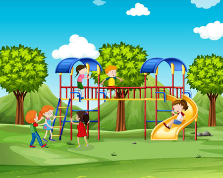 Children climbing up the playhouse illustration