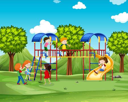 playhouse: Children climbing up the playhouse  illustration Illustration