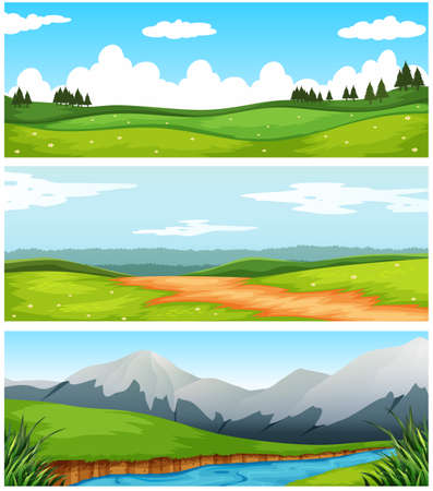 rural scene: Scenes with field and road in countryside illustration Illustration