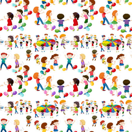 playing games: Seamless background with kids playing games illustration Illustration