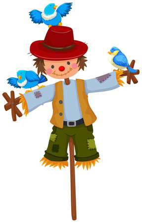 Scarecrow on stick with blue birds illustration Illustration