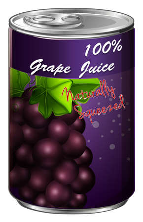 can: Grape juice in aluminum can illustration