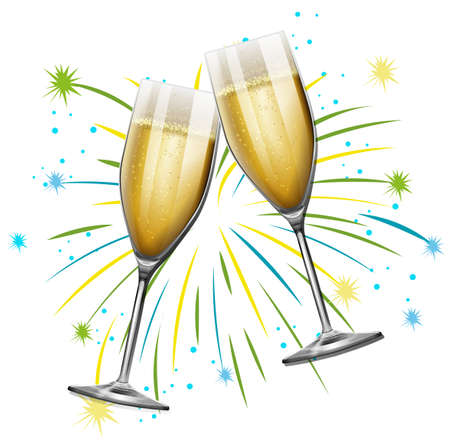 Two glasses of champagne with firework background illustration Vectores
