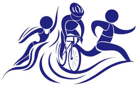 Icono del deporte de triatlón en la ilustración de color azul
