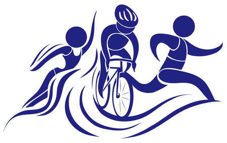 Sport icon for triathlon in blue color illustration