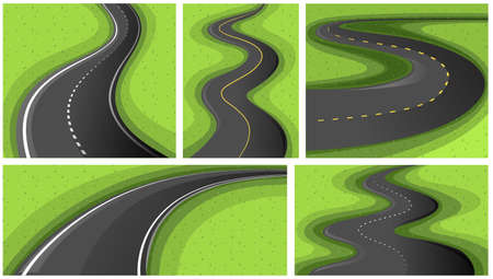 curve road: Scenes with different shapes of roads illustration Illustration