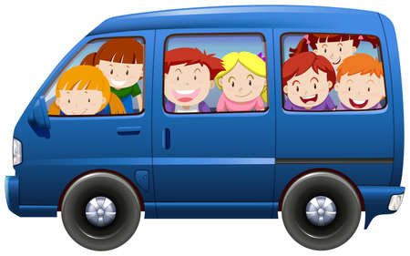 Children having carpool in blue van illustration