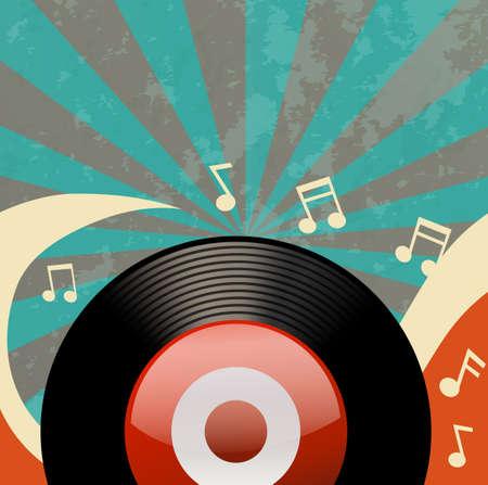 grabadora: Diseño retro con grabadora de discos de la ilustración