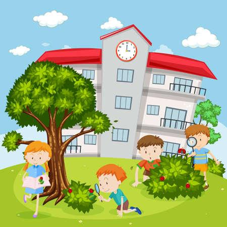 niños jugando en la escuela: Los niños que juegan en la ilustración del patio de la escuela